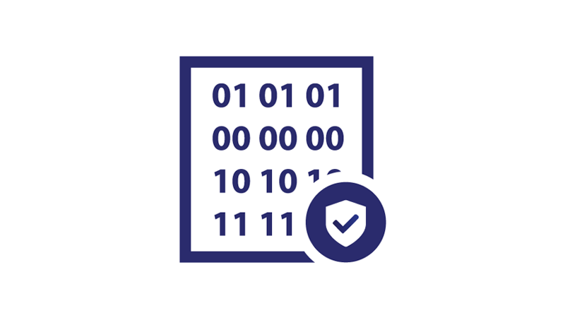 A block of binary code and a small shield with a checkmark sits in front of the code in the bottom right corner.